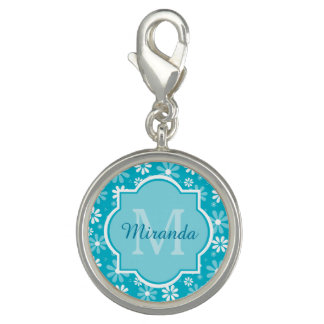 Girly Monogram Turquoise Daisy Flowers With Name