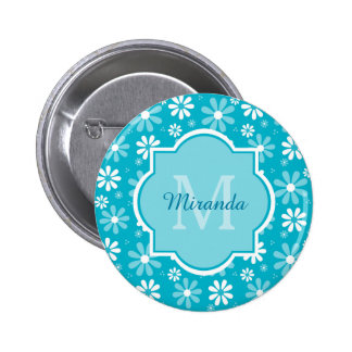 Girly Monogram Turquoise Daisy Flowers With Name 6 Cm Round Badge