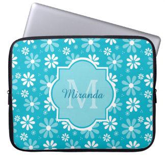 Girly Monogram Turquoise Daisy Flowers With Name Laptop Sleeve