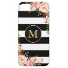 Girly Monogrammed Gold Floral Black White Stripes iPhone 5 Cover