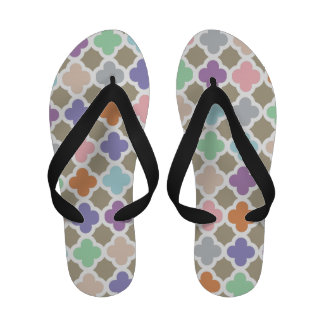 Girly Moroccan Quatrefoil Pattern Pastel Color Sandals