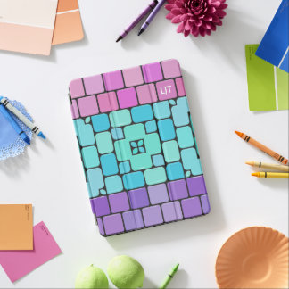 Girly Mosaic Tiles: Personalize with Your Initials iPad Pro Cover