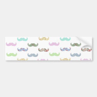 Girly mustache pattern bumper sticker