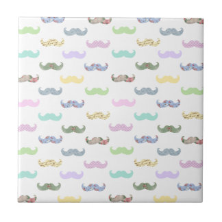 Girly mustache pattern tile