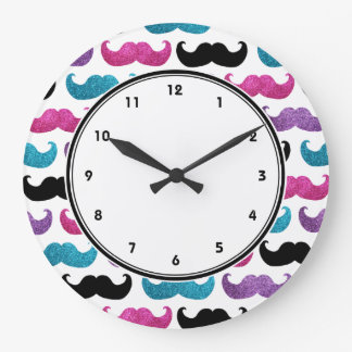 Girly mustaches pattern (Pink Purple Blue & Black) Large Clock