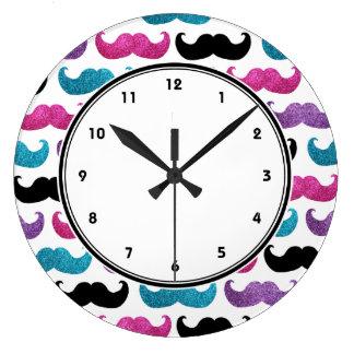 Girly mustaches pattern (Pink Purple Blue & Black) Wall Clock