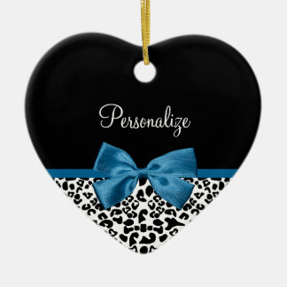 Girly Name Leopard Print Pretty Cobalt Blue Ribbon Christmas Ornament