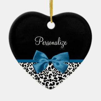 Girly Name Leopard Print Pretty Cobalt Blue Ribbon Christmas Ornament