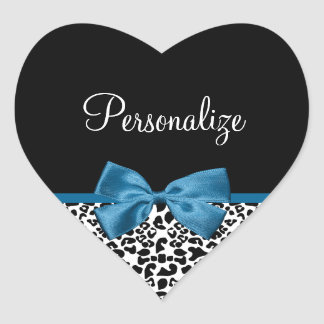 Girly Name Leopard Print Pretty Cobalt Blue Ribbon Heart Sticker