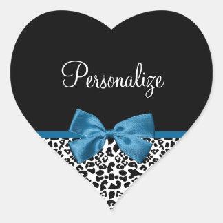 Girly Name Leopard Print Pretty Cobalt Blue Ribbon Heart Sticker