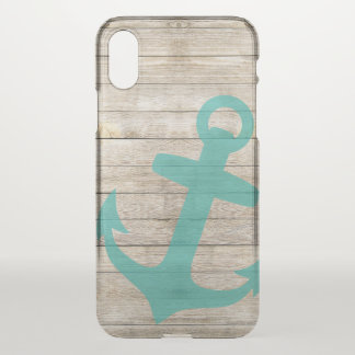 Girly Nautical Anchor and Wood Look iPhone X Case
