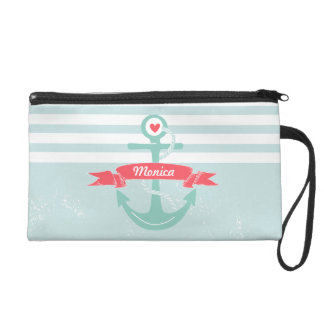 Girly Nautical Anchor Personalized Wristlet Clutch