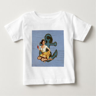Girly nautical anchor vintage pin up girl baby T-Shirt