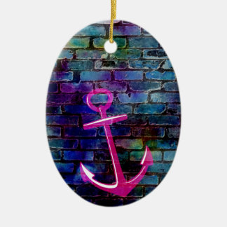 Girly Nautical Anchor with Brick Christmas Ornament
