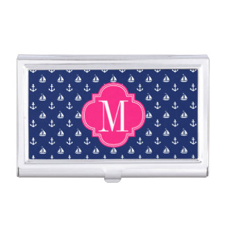 Girly Nautical Anchors Navy Pink Personalized Business Card Holder
