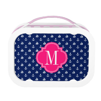 Girly Nautical Anchors Navy Pink Personalized Lunch Box