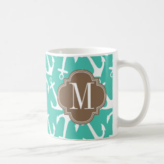 Girly Nautical Anchors Turquoise brown Personalize Coffee Mug