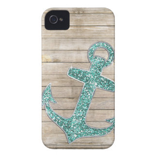Girly Nautical Aqua Purple Anchor & Wood Look iPhone 4 Case
