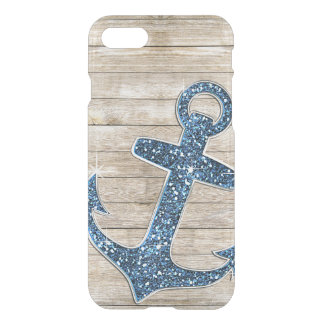 Girly Nautical Blue Purple Anchor & Wood Look iPhone 8/7 Case