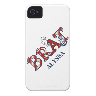 Girly Nautical Brat Seahorse n Anchor Striped Case-Mate iPhone 4 Case