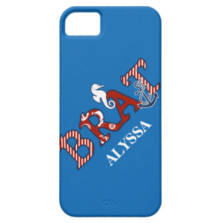 Girly Nautical Brat Seahorse n Anchor Striped iPhone 5 Covers