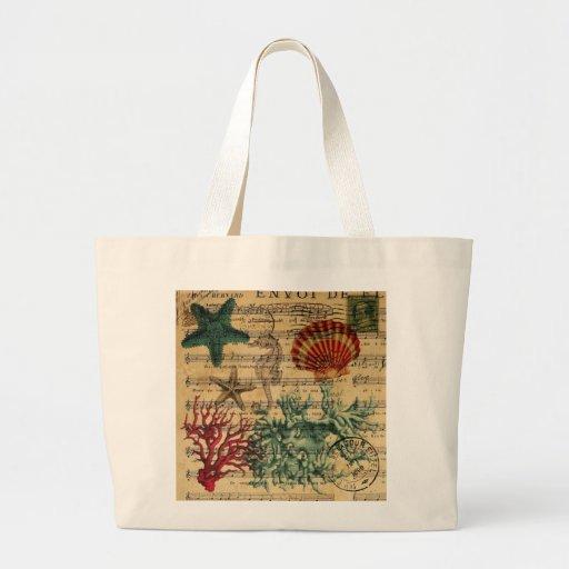 girly nautical ocean seashells starfish beach tote bags