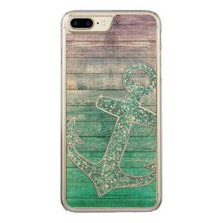 Girly Nautical Purple Aqua Anchor & Wood Carved iPhone 8 Plus/7 Plus Case