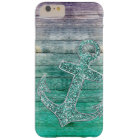 Girly Nautical Purple Aqua Anchor & Wood Look Barely There iPhone 6 Plus Case
