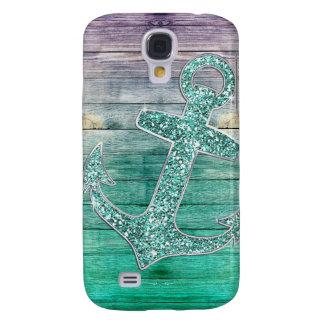 Girly Nautical Purple Aqua Anchor & Wood Look Galaxy S4 Case