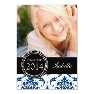 GIRLY NAVY BLUE DAMASK GRADUATE PARTY CARD