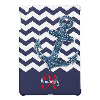 Girly Navy Faux Glitter Anchor Chevron Chic iPad Mini Case