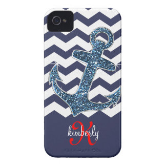 Girly Navy Faux Glitter Anchor Chevron Chic iPhone 4 Case