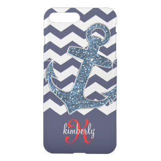 Girly Navy Faux Glitter Anchor Chevron Chic iPhone 8 Plus/7 Plus Case