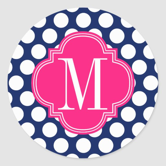 Girly Navy & Pink Big Dots Monogrammed Classic