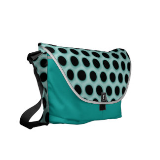 Girly Neon Green Black Polka Dots Pattern Courier Bags