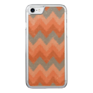Girly Orange and Gray Bohemian Chevron Pattern Carved iPhone 8/7 Case