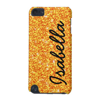 GIRLY ORANGE GLITTER PRINTED PERSONALIZED iPod TOUCH (5TH GENERATION) COVERS