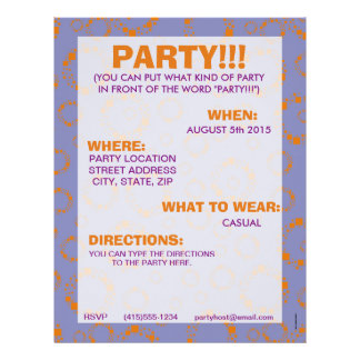 girly orange purple circle squares pattern dizzy personalized flyer