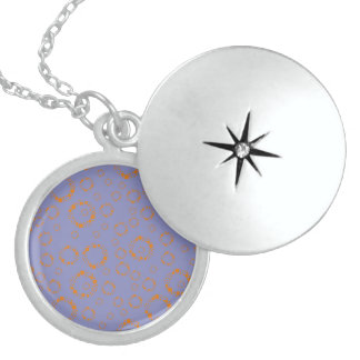 girly orange purple circle squares pattern dizzy necklace