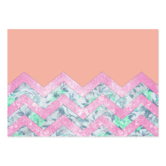 Girly Orange Purple Floral Block Chevron Pattern Pack Of Chubby Business Cards