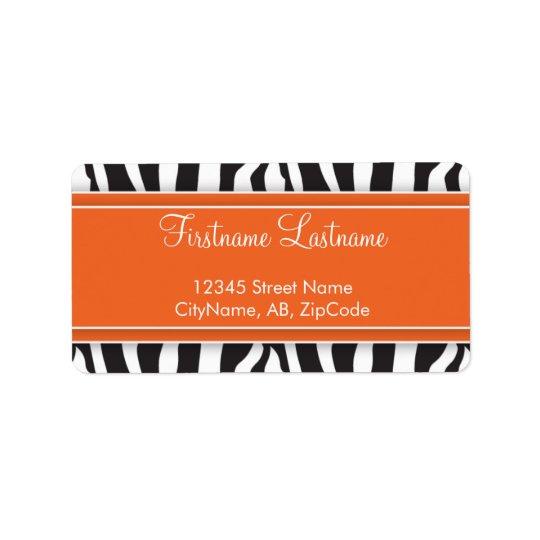 Girly Orange Zebra Print Address Label