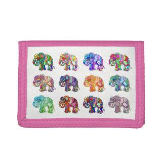 Girly ornamental retro colorful ethno elephants tri-fold wallets