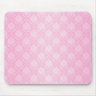 Girly Pale Pink and White Damask Pattern Mouse Mat