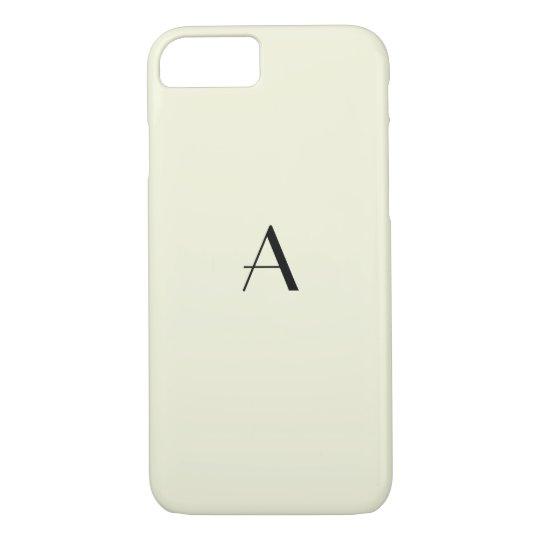 Girly Pastel Beige iPhone 7 Case w/ BlackMonogram