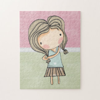 Girly Pastel Country Doll Puzzle