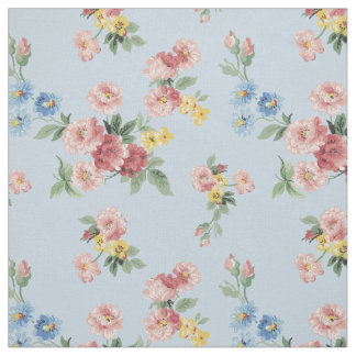 Girly Pastel Floral Customizable - Blue Background Fabric