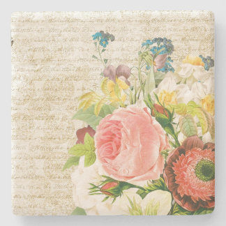 Girly Pastel Floral Pattern Stone Coaster