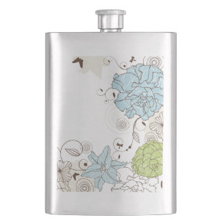 Girly Pastel Flowers and Swirls Hip Flask
