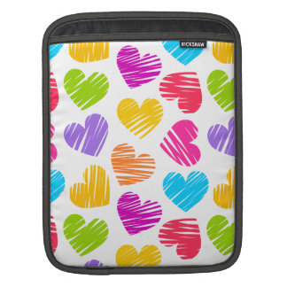 Girly pastel love hearts pattern iPad sleeve