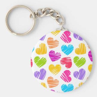 Girly pastel love hearts pattern key chains